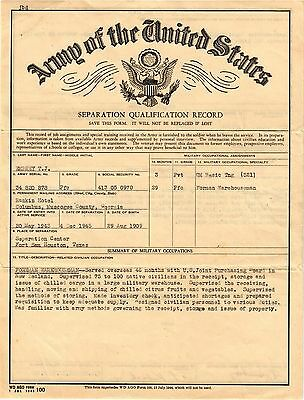 Seperation Qualification Record Document Us Army 12/4/1945, T.j. Embrey