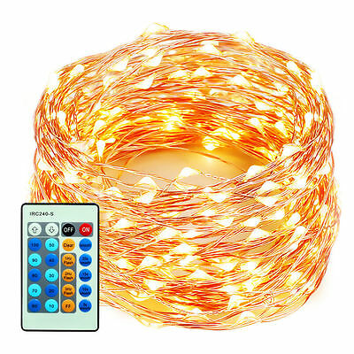 300LED Lights Flexible Dimmable Copper Wire Lights Waterproof + Remote -US STOCK