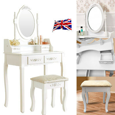 White Dressing Table Stool Vanity Mirror Set Antique Organizer Bedroom Furniture