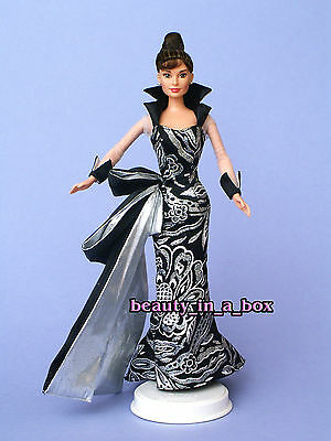 Audrey Hepburn Black Silver Ball Gown OOAK Celebrity Redress Barbie Doll NO BOX