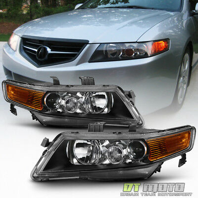 Blk 2004-2008 Acura TSX CL9 Projector Headlights Headlamps 04-08 Aftermarket Set