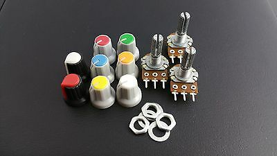B100K Potentiometer Pot + nuts and washers + knobs(x3) Choice of coloured knobs