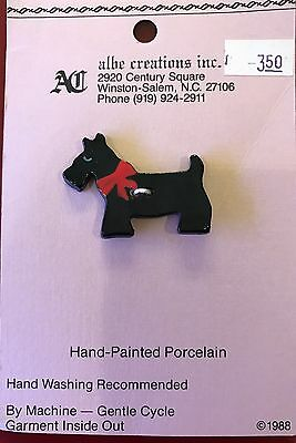 Vintage 1988 Scottie Dog Button New On Card $3.50 Hand Painted