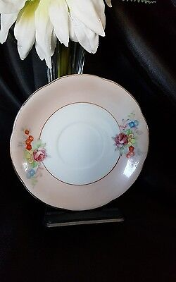 """S.K.G. China 4"""" Mini Saucer/Plate Made In Occupied Japan-Flowers/Pink/Gold Rim"""