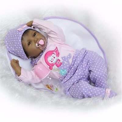 """22""""Black African American Silicone Vinyl Reborn Baby Doll+clothes+Pacifier"""