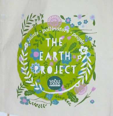 Whole Foods Market Earth Day Project Eco Friendly Cotton Canvas Tote Bag NEW
