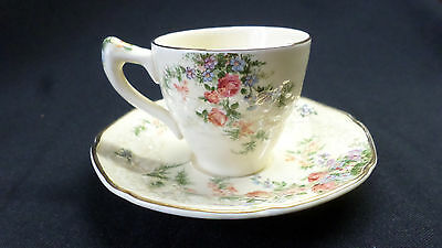 Crown Ducal. Florentine. Rosalie. Coffee Cup And Saucer. Made In England.