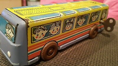Vintage Bus School Tin Toy Plastic Wind Up Tourist Metal And Rubber Tires Ussr