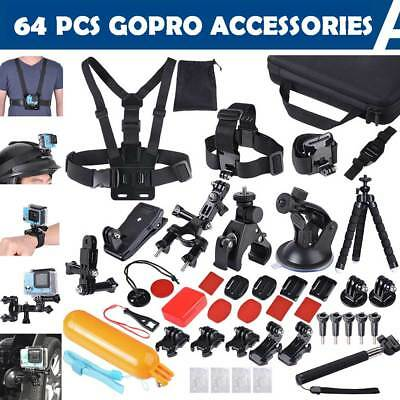 64Pcs Accessories Pack Case Head Chest Bike Surf Mount Kit for Gopro Hero 5 4 3