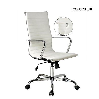 Executive High Back Office Chair Ergonomic PU Leather Computer Desk Home White
