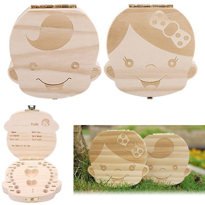 Kids Tooth Box Organizer Baby Save Milk Teeth Wood For Boy&Girl Storage Box J