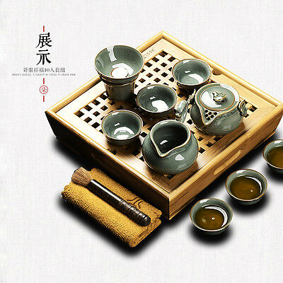Top Quality Tradition Oriental Chinese Tea Set Wood Solid Clay Porcelain