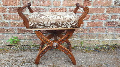 A Stunning & Ornate Rare Style X Frame Antique Edwardian Adjustable Piano Stool