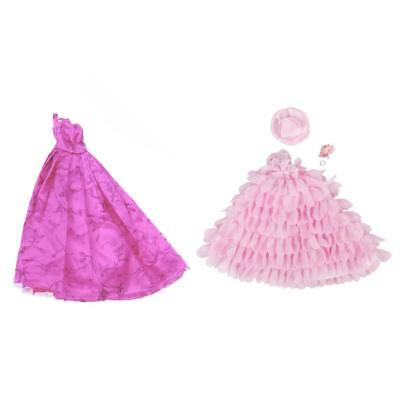 2Pcs Fashion Princess Lace Dress Wedding Clothes Gown For Barbie Doll Gift