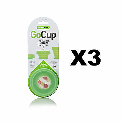 humangear GoCup Travel Cup Small Green 4oz Collapsible Silicone Tumbler (3-Pack)