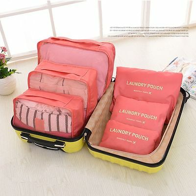 6 Pcs Travel Camping Laundry Clothes Organizer Storage Bags Container Suitcase