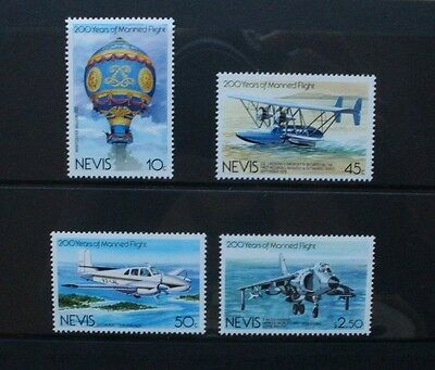 NEVIS 1983 Manned Flight Aircraft. Set of 4. Mint Never Hinged SG122/125.