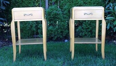 PR Mid-Century Deco French Nightstand / End Tables by RWAY  Dorothy Draper era