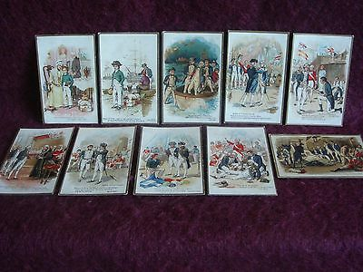 NELSON. Scenes from the Life of Admiral Lord Nelson. 10 unused colour postcards.