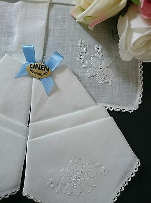 Set Of 3 Vintage Irish Linen Handkerchiefs ~ Hand Embroidered Needle Lace Bridal