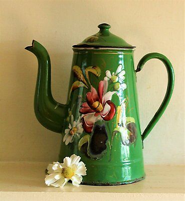 Rare Vintage French Green Enamel Coffee Pot with Poppies and Daisies