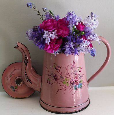 Vintage Rare French Pink Enamel Coffee Pot with a Dragonfly and Violets