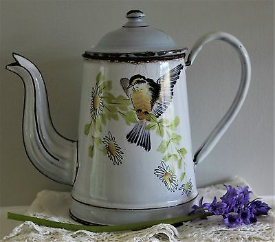 Vintage French White Enamel Coffee Pot with a Bird and Daisies