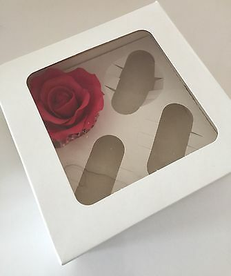 4 x CUPCAKE BOXES WHITE HOLDS 4 cup cakes SQUARE WITH CLEAR WINDOW Festive Sugar
