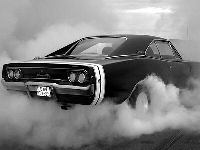Dodge Charger RT BW Muscle Car Auto Art Print POSTER Affiche