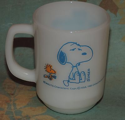 Vintage Peanuts Snoopy I'm Not Worth a Thing Before Coffee Break! Fire King Mug