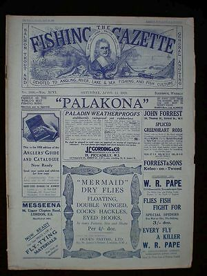 Fishing Gazette . 14th April 1928 . Vintage Newspaper . Rar . Zeitung . angeln