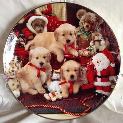 Christmas Cheer Franklin Mint Golden Retriever Limited Edition Plate Excellent