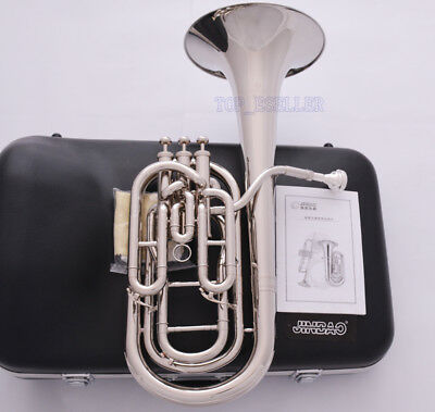 Prof QUALITY TaiShan Silver Nickel Tuba Horn Monel Valves + 2 Mouthpiece +Case