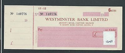 wbc. - CHEQUE - CH1347 - UNUSED no s/d - WESTMINSTER BANK, CLIFTON,BRISTOL + c/f