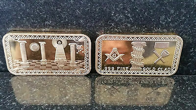 Masonic Symbol Hope Faith Charity Freemason Bar Gold Mason 1Oz Magnificent