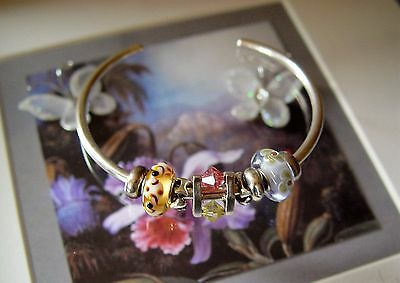 Beautiful Medium Sized Genuine Trollbeads Sterling Silver Bangle & 7 Trollbeads