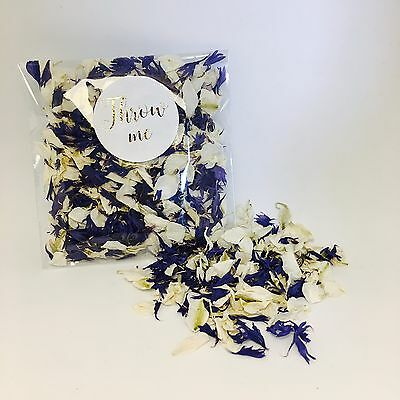 Navy blue & white wedding confetti-flower biodegradable petals-gold throw me