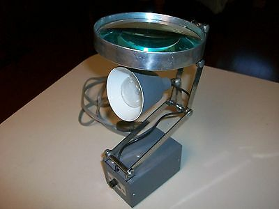 Vintage Roxter~Articulating Machinist~Jeweler~ Hi-Lo Lamp with Magnifier~Works