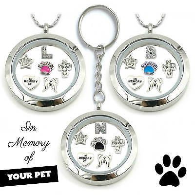 Pet Cat Dog Remembrance In Memory Of Locket Keyring Necklace Floating Charms
