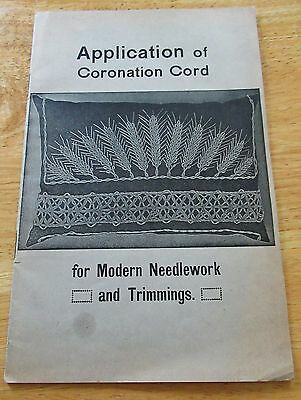 Rare Antique/Vtg Booklet Application of Coronation Cord, Pattern Use, Sz Chart