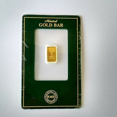 1g Royal Mint Gold Bar in Security Card