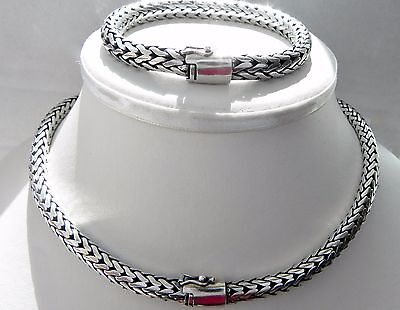 MEGA! heavy! 187g sterling silver 925 Viking weave braided necklace bracelet set