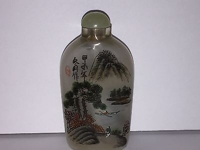 Antique Chinese Reverse Painting Snuff Bottle Signed Landscape