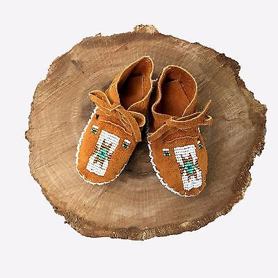 Native American Baby Moccasins Soft Sole Shoes Leather Boy Girl Handmade Infant