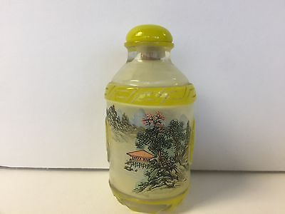 Antique Chinese Peking Glass  Reverse Painting Snuff Bottle