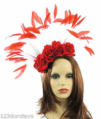 Red Large Fascinator for Ascot, Weddings, Proms, Derby A2