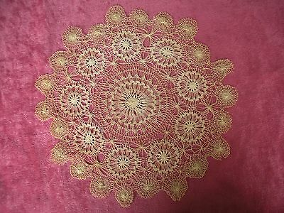 Antique Ecru Teneriffe Lace Doily Very Fine Thread Excellent Handwork  8.5 inch