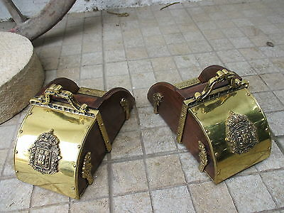 Vintage Lusitano Horse Pair Paddle Stirrup Foot Rest Wood And Brass Coat of Arms