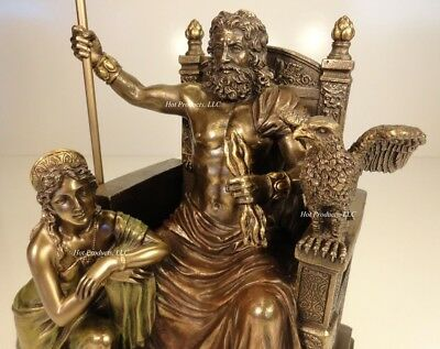 KING ZEUS GOD of THUNDER & HERA on Throne GREEK MYTHOLOGY  Statue Bronze Finish