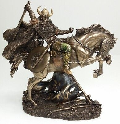 "10"" NEW VIKING WARRIOR Rearing on Horse Statue / Sculpture Antique Bronze Finish"